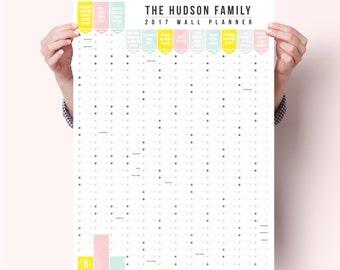 Personalised  2017 Wall Calendar Year Planner