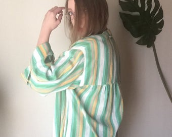 L/XL 70s boho candy stripe southwestern style hippie VINTAGE blouse shirt top wide bell sleeve extra large