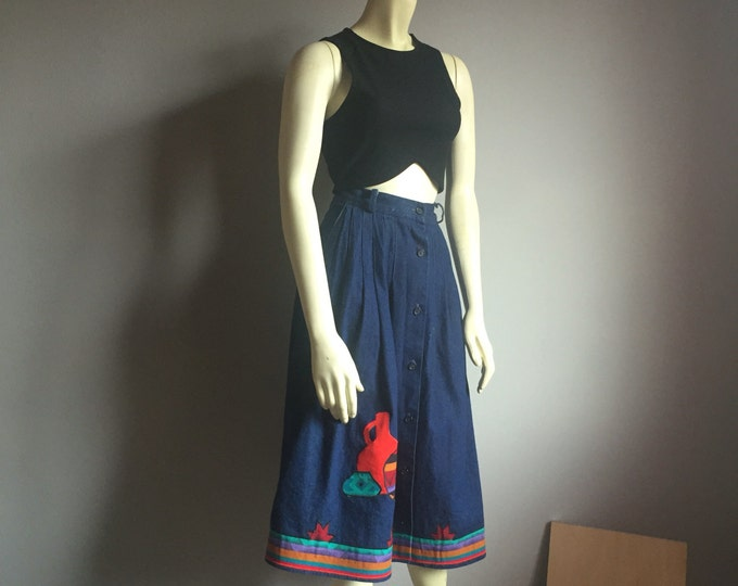 L denim high waist aline southwestern imagery applique embroidered 80s midi tea length vintage 1980s skirt medium M large indigo stripes