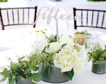 Table Numbers for Wedding on Sticks, Extra Tall Words for Table Number Silver or Custom Painted Wedding Decor Centerpieces (Item - LWS100)