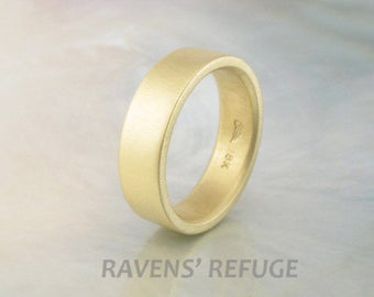 flat gold wedding ring -- simple 6mm pipe band made of 18k recycled gold