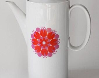 Vintage Tall Coffee Pot Thomas Germany Pinwheel Tulip Pattern