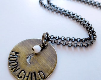 Moon child Necklace | stamped necklace | charm pendant | moon necklace | small boho necklace
