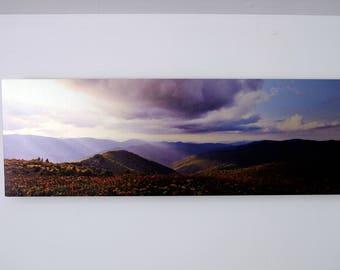 "Black Balsam Knob Sunset Metal Print 10""x30"" Panoramic Floating Frame"