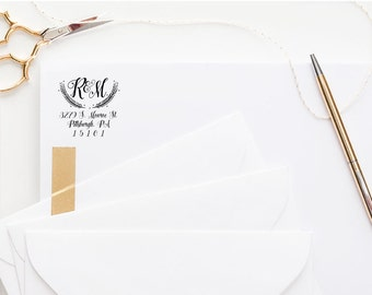 Calligraphy Monogram Return Address Stamp - Self Inking Address Stamp, Custom Address Stamp, Wedding Stamp, Personalized Address Stamp