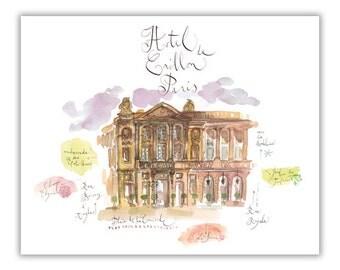 Architectural painting of Paris Hotel de Crillon, Watercolor Paris, Parisian house print, French illustration poster, Paris decor, Wall art