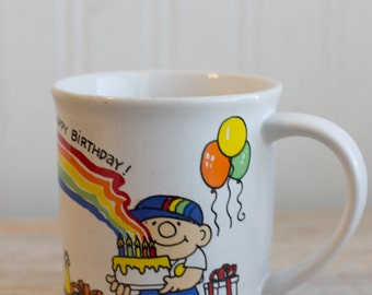 Vintage 80s Mug,  Happy Rainbow Mug, 1980's Birthday Cup,  Ozzie Coffee Cup, Happy Rainbows, Happy Birthday, Novelty Gift