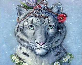 "Senka - 8x10"" Giclee canvas print Snow leopard"