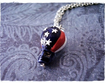 Patriotic Hot Air Balloon Necklace - Ceramic Patriotic Hot Air Balloon Charm on a Delicate Silver Plated Cable Chain or Charm Only