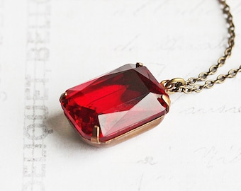 Red Pendant Necklace, Large Rhinestone Necklace on Antiqued Brass Chain, Ruby Red Necklace, Vintage Glass Stone, Valentine's Jewelry