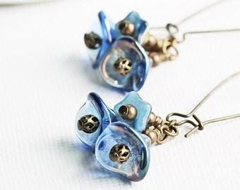 Blue Flower Earrings, Blue Cluster Earrings on Antiqued Brass, Denim Blue Earrings, Blue Dangle Earrings, Czech Glass, Beaded Jewelry