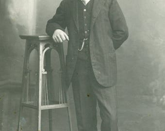Handsome Man With Wonderful HANDLEBAR MOUSTACHE Photo Postcard Brest France circa 1910s