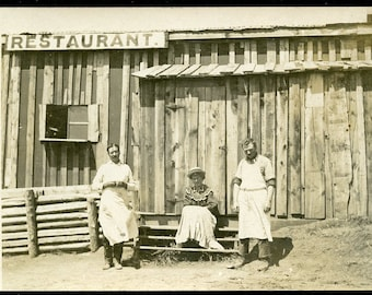 Restaurant Workers WAITING For a CUSTOMER Photo Postcard circa 1910
