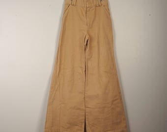 Extra Wide Bell Bottom Pants 26 inch waist 1970s Vintage Flared High Waist Tan Khaki Cotton Jeans small 4 Tall