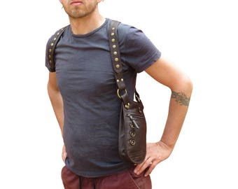 Leather Arm Holster, Utility Belt Bag, Leather Holster, Festival Bag, Belt Bag, Burning Man, Steampunk Arm Bag in Brown *Free Shipping*