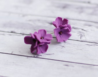Lilac studs, Purple flower studs, Flower earrings, Floral studs, Purple lilac post earrings, spring accessories, Polymer clay earrings
