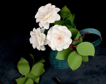 The  Camellia - Handmade Paper Flower  - set of 3 flowers  - Stems Included -  Custom order available