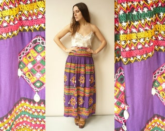 Vintage 1970's Indian Embroidered Cotton Maxi Skirt With Mirrorwork Details Size Small