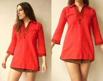 1970's Vintage Red Beaded & Embroidered Boho Hippie Festival Tunic Top Size XS