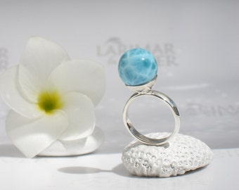 Larimar ball ring size 7 by Larimarandsilver, Mermaid Pearl 1 - turquoise Larimar ball, sky blue, aqua pearl ring, handcrafted Larimar ring
