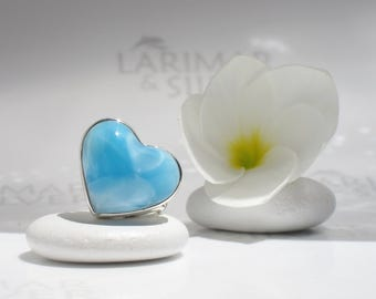 Larimar heart ring size 7 by Larimarandsilver, Heavenly Love - sky blue Larimar heart, powder blue heart angel heart, handmade Larimar ring
