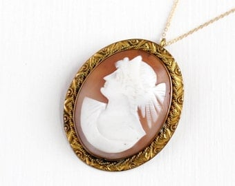 Sale - Antique 10k Rosy Yellow Gold Filled Carved Shell Cameo Pendant Necklace - Vintage Edwardian Oval Brooch Pin Statement Classic Jewelry