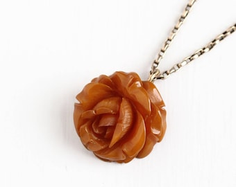 Sale - Vintage Large Carved Bakelite Rose Flower Necklace - 1930s Gold Filled Chain Butterscotch Brown Orange Floral Statement Charm Jewelry