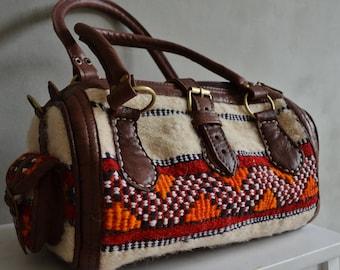 Christmas Winter Finds Moroccan White Kilim Leather Satchel Cross Shoulder Straps Berber style-bag, tote, handbag, purse, gifts, handbag