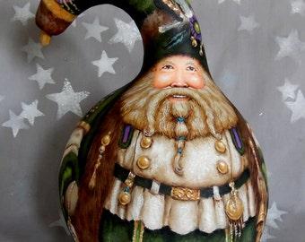 """Winter's Dream, Santa Claus, blue purple, hand painted gourd art, 10"""" tall x 7 1/4"""" diameter"""