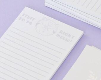 "A6 Cat List Pad - Cat NotePad ""Bossy Cat"" Lists Cat notebook Paper Notebook Notepad Cat book"