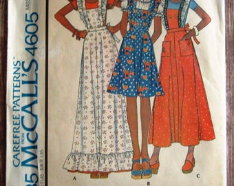 Vintage 1970s Misses Pinafore in Two Lengths Size Petite 6-8 McCalls Carefree Pattern 4605 Cut/Complete