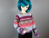 MNF / Unoa / Slim MSD Long Sleeve Blue, Green, Pink/Coral Knit Fair Isle Sweater for Boy & Girl BJD