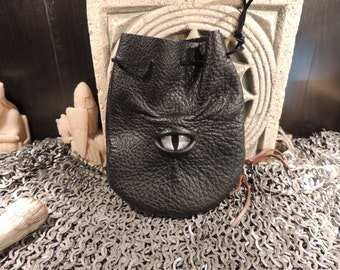 Dragon eye dice bag (Black  leather with Grey Eye)----New Style-----