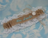 Burlap and lace Mrs Wedding Garter Embroidered with blue font and pearl throw garter toss garter
