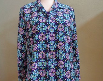 """Vintage 90's Notations Multi-Colored Long Sleeved Blouse with Geometric Print Bust 40"""" Waist 40"""""""