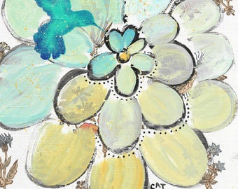 For The Birds - original painting, Blue Hummingbird and Blue and Yellow Zinnia Flower painted on Vintage Wallpaper