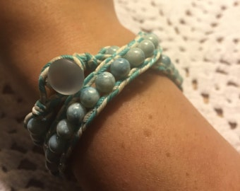 Spotted Blue Wrap Bracelet
