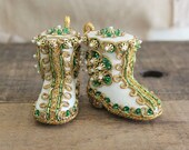 RESERVED Vintage Sequin and Bead Santa Boots Tree Ornament