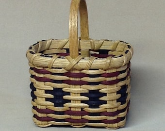 Small, Hand Woven Market Style Basket with Dark Blue and Burgundy Accent Weaving