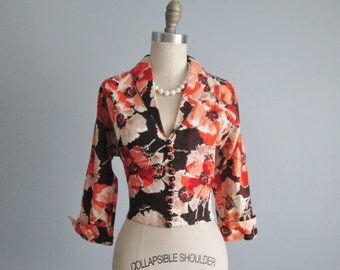 50's Poppy Jacket // Vintage 1950's Poppy Floral Print Fitted Cocktail Evening Jacket S