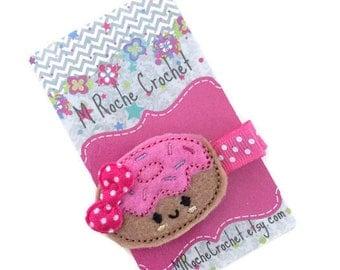 Donut hair clip, donut felt clip, doughnut hair clip, baby hair clip, toddler hair clip, hair accessories, hair clippies, baby barrettes