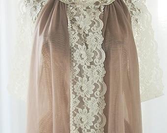 Vanity Fair Chiffon Peignoir Robe Chocolate Ecru Lace Unworn Large