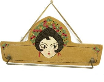 Vintage Embroidered Flapper Girl Towel, Tie Wall Hanging Rack, 1930s, French Knot Flowers