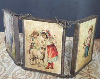 Vintage Traveling Mirror, Tri-Fold Vanity Mirror, Antique Triple Frame, Children Lithograph Images, Victorian Era