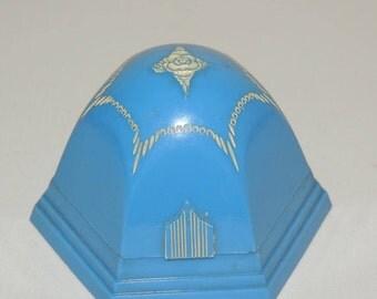 1940s Blue Plastic Domed Wedding Ring Box