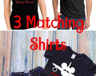 """3 Pack Family Shirts """"Disney Bound"""" - Mom, Dad, and Son Micket Minnie Airplane Black TShirts - Disney Vacation Matching Family Shirts"""