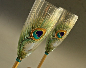 Peacock Glasses,Peacock Feathers Wedding, Toasting Champagne Flutes Hand Painted,set of 2