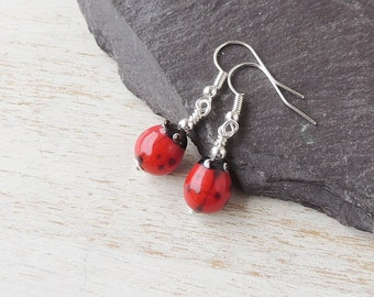 Ladybird Earrings, Red Ladybird Bead Earrings, Ladybug Earrings, Ladybird Jewellery, Ladybug Jewelry, Animal Insect Bird, UK, 1309