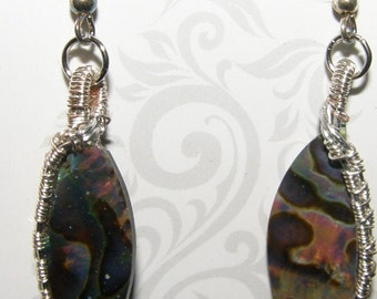 Silver Wire Wrapped Abalone Earrings