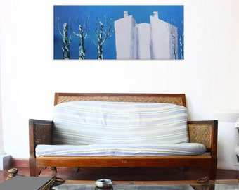 First snow - art urban sky blue painting wall decor field hanging art tree canvas original painting landscape impasto oil